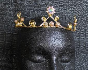 Celestial Crown Swarovski Bridal Sunburst Tiara Gold Sun Headpiece Bridal Starburst Crown Downton Abbey 1920s Headband Great Gatsby Wedding