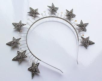 Silver Star Headband Art Deco Celestial Tiara Star Wedding Crown Starry Night Crystal Headpiece Celestial Wedding Dress Stars Crown