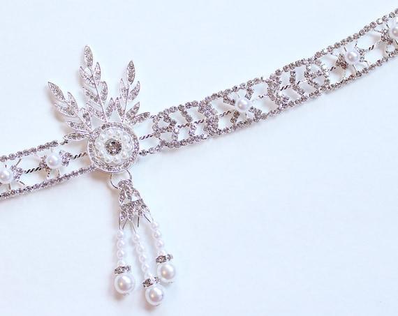 Great Gatsby headpiece Daisy Flapper Headband Roaring 20s Gatsby Dress Flapper Headpiece Bridal 1920s wedding headband Bridal Headpiece