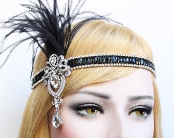 Great Gatsby Headpiece 1920s Headband Roaring 20s Flapper Black Silver Gatsby feather headband Flapper girl dress Bachelorette Hen Party