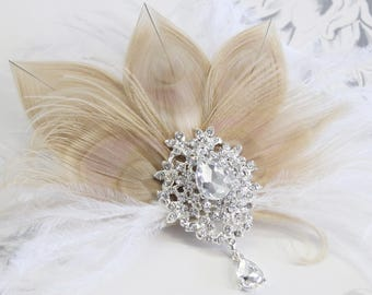 Ivory feather fascinator, Bridal Hair Fascinator, Bridal Hair Comb Feather hair clip, wedding hair clip, Great Gatsby Hair piece