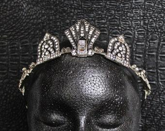 Silver Art Deco Crown 1920s Gatsby Headpiece Roaring 20s Vintage bridal tiara for wedding dress Bridal Headband Bachelorette party Gala