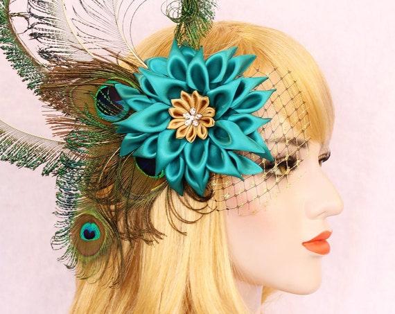 Peacock Wedding Flower Fascinator 1920s Juliet cap veil Teal flower bridal peacock Fascinator Peacock wedding dress Teal flower headpiece