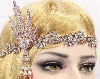 1920s Gatsby Headpiece | Downton Abbey Rose Gold Gatsby Headband Gatsby Flapper Wedding Headband Roaring 20s Bachelorette Hen Party