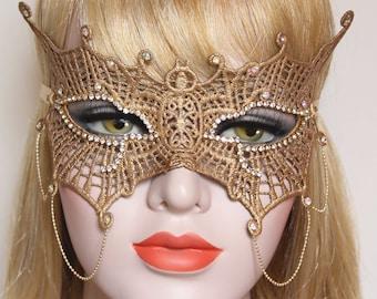 Gold Crystal Masquerade Mask Lace Mask fifty Shades Phantom Mardi Gras Boudoir Sexy Rhinestone Bridal Mask Bachelorette Hen Party Gala