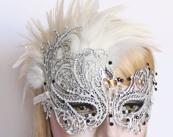 Masquerade Masks Women Swarovski Crystal Masquerade Mask Mardi Gras Wedding Mask White Swan Burlesque Feather Mask