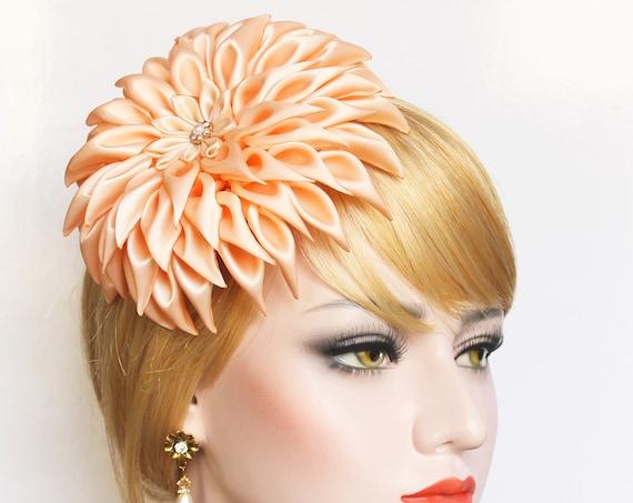 Giant Bridal Hair Flower Fascinator large Flower hair clip Elegant Satin Dahlia Hair piece Romantic Wedding Hair Flower for wedding dress