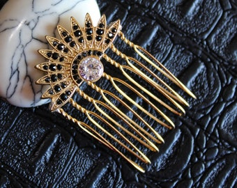 Gold Black Celestial Hair comb Art Deco Starburst pins Zircon Bridal Comb Star Wedding Comb Sunburst Celestial Wedding Hair Accessories