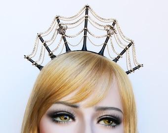 Spider Web Crown Gothic Headpiece Halloween Goddess Crown Spiderweb Headband Goth Spider Queen Day of the Dead Burlesque Costume Headdress