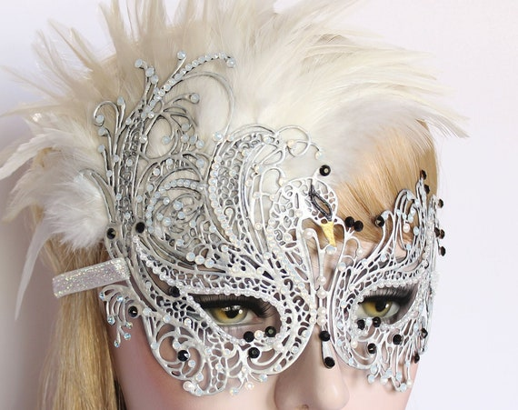 Masquerade Masks Women Swarovski Crystal Masquerade Mask Mardi Gras Wedding Mask White Swan Burlesque Feather Mask