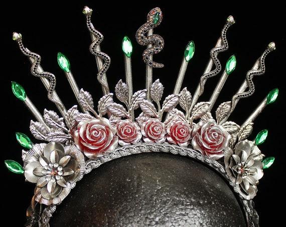 Medusa Crown Snake Crown Medusa Costume Headpiece Cobra Crown Spiked Halo Snake Witch Goddess Headband Gothic Burlesque Snake Headband
