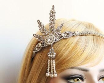 Silver Crystal Gatsby Headpiece 1920s Wedding Headband Bridal Tiara Downton Abbey Great Gatsby Tassel headband for Bride Bridesmaids Prom