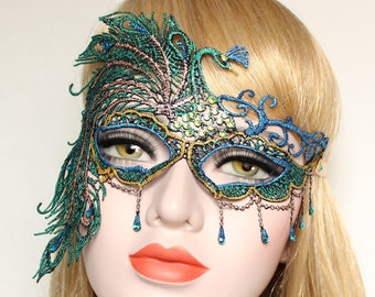 Peacock Masquerade Mask Mardi Gras Women Sexy Lace Mask Phantom Boudoir Crystal Bridal Mask Bachelorette Hen Party