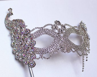 Crystal Peacock Masquerade Mask Feather Stick Mask Mardi Gras fifty Shades Phantom Boudoir Sexy Rhinestone Bridal Mask Bachelorette Party