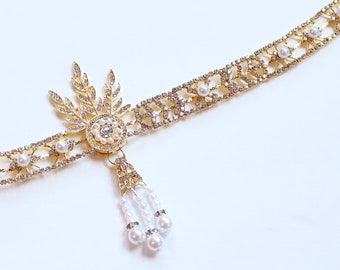 The Great Gatsby headpiece Daisy Flapper Headband Roaring 20s Gatsby Dress Flapper Headpiece Bridal 1920s wedding headband Bridal Headpiece