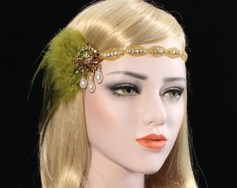 Vintage 1920s Great Gatsby Headpiece Gold Green Roaring 20s headband Gatsby feather flapper girl Gatsby dress Bachelorette Hen Party