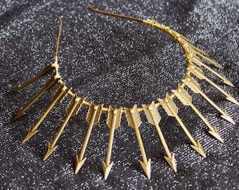 Gold Spike headband Spiked Halo Crown Bronze Arrow Goddess Headpiece Met Gala Headpiece burning man Costume headdress