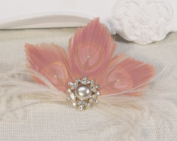 1920s headpiece Pink Feather Fascinator Vintage style hair piece feather Flapper 20s Wedding Bachelorette hen Gatsby Dress Party