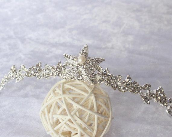 Mermaid Crown Mermaid headpiece Mermaid Costume Seashell Crown Starfish Tiara Destination Beach Wedding Seashell headband quinceanera