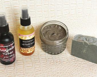 Facial Spa Gift Box Neem Charcoal Bar Soap Dead Sea Mud Mask Rosewater Toner 24k Face oil serum Self Care Acne Facial Kit