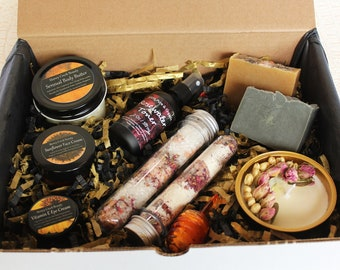 Self Care Gift Box Bar Soap Rose Toner Body Butter Beeswax lip balm Jasmine Candle Goat Milk Bath Salts Face Eye Cream Spa Care Package