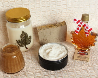 Canadian Maple Spa Gift Box Non Greasy Fall Maple Body butter Emulsified Maple Brown Sugar Scrub Maple Beeswax Soap Maple Candle Maple Syrup
