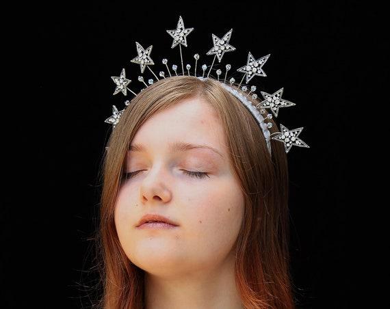 Silver Celestial Star Crown Swarovski Crystal Headpiece for Celestial Wedding Dress Art Deco Star Bridal Headband Starry Night Tiara