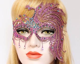 Purple Peacock Masquerade Mask Women Costume Mask Sexy Burlesque Lace Mask Masked Ball Boudoir Crystal Bridal Mask Bachelorette Hen Party