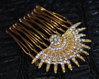Gold Celestial Hair comb Art Deco Starburst pins Bridal Comb Star Wedding Sunburst Headpiece Celestial Wedding Hair Accessories