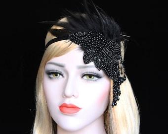 1920s Great Gatsby Headpiece 20s Feather Flapper Headband Great Gatsby Dress Bachellorette Hen Party Black Pearl Beaded Headpiece 1920s Gala