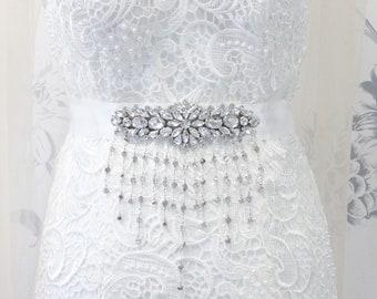 Crystal Wedding Sash Tassel Beaded Bridal Belt Wedding Dress Rhinestone Sash Gatsby Art Deco 1920s Bridesmaid Prom Sash Belt for Dress