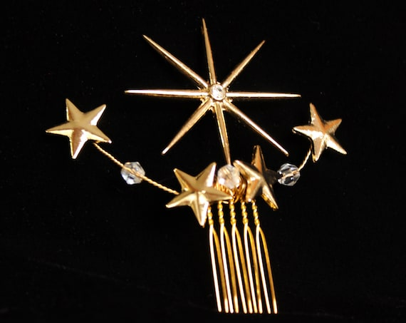 Gold Swarovski Celestial Star hair Comb 1920s Starburst hair piece Art Deco Bridal Comb Wedding Headpiece Celestial hair clip Wedding Dress
