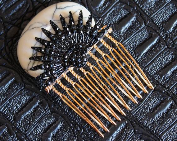 Black Celestial Hair comb Art Deco Starburst pins Bridal Comb Star hair comb Sunburst Headpiece Celestial Wedding Hair Accessories