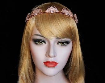 Rose Gold 1920s Celestial Crown Star Earrings Great Gatsby Sunburst Halo Headpiece Star Bridal Tiara Starburst Wedding Headpiece Spike Crown