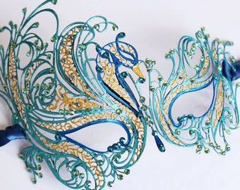 Peacock Masquerade Mask Feather Crystal Mask fifty Shades Phantom Mardi Gras Boudoir Sexy Rhinestone Bridal Mask Bachelorette Hen Party Gala