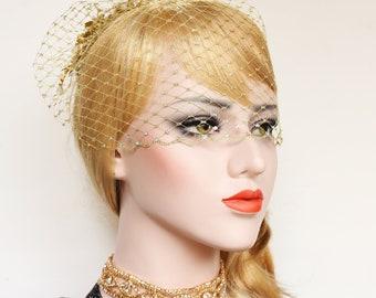 Metallic Gold Birdcage Veil 1920s Gatsby Wedding Dress Gold French net Bridal Veil Swarovski Crystal Blusher Veil Wedding Bird Cage veil