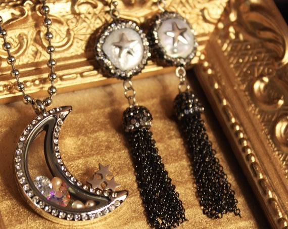 Silver Moon Stars Necklace Tassel Earrings Swarovski Celestial Wedding Jewelry Set Moon Locket Necklace Mother of Pearl Earrings Jewellery
