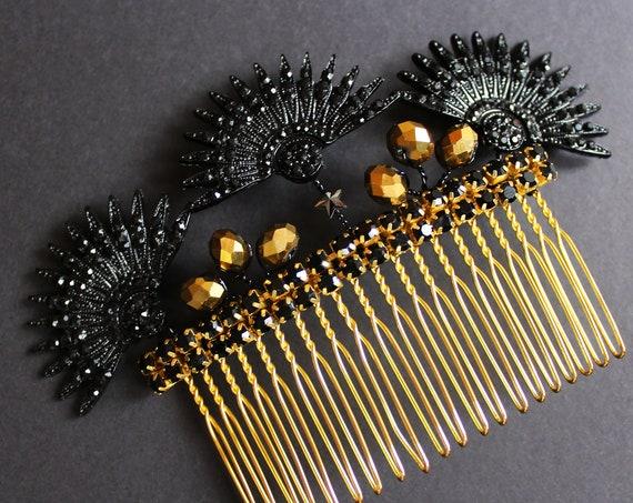 Black Gold Art Deco Bridal Hair Comb 1920s Starburst Comb Gatsby Wedding hair accessory Celestial Headpiece Sunburst hair piece Star comb