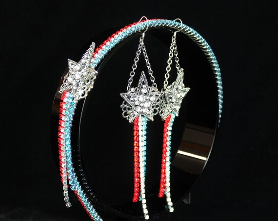 Patriot Headpiece Earrings USA Red White Blue Independence Day Headband Earrings Lady Liberty Crown 4th of July Patriotic Apparel