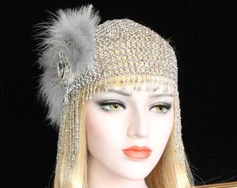 Gatsby Headpiece 20s beaded cap feather flapper Headband 1920s dress Roaring 20s Wedding Headpiece bridesmaid Prom hair accessories