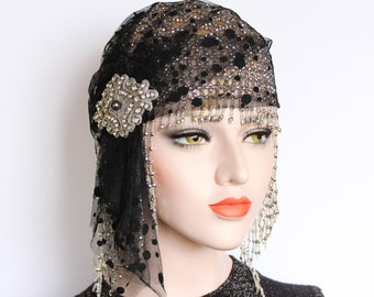 Gatsby Headpiece Black Silver 1920s Gatsby Dress Flapper Headpiece 20s Juliet Cap Wedding Veil Beaded Cap Gatsby 1920s Birthday Party