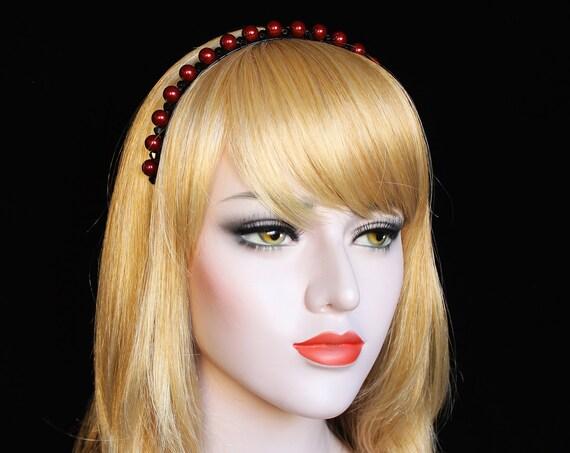 Swarovski Pearl Headband Red Black Wedding Tiara Gothic Bridal headpiece Wired pearl Wedding Crown Crystal hair piece for Wedding Dress
