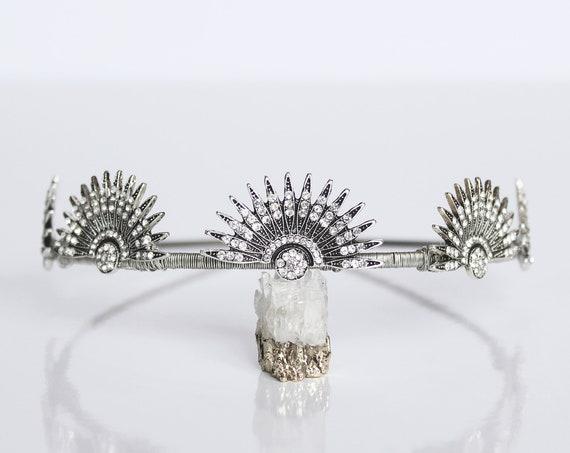 Silver Celestial Headpiece Wedding Starburst Crown Art Deco Tiara Bridal Sunburst Crown Downton Abbey 1920s Headband Gatsby Wedding Dress