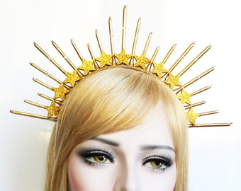 Starburst Goddess Crown Gold Celestial Halo Headpiece Sunburst Spiked Headband Virgin Mary Bridal Crown Heavenly Bodies Burning man
