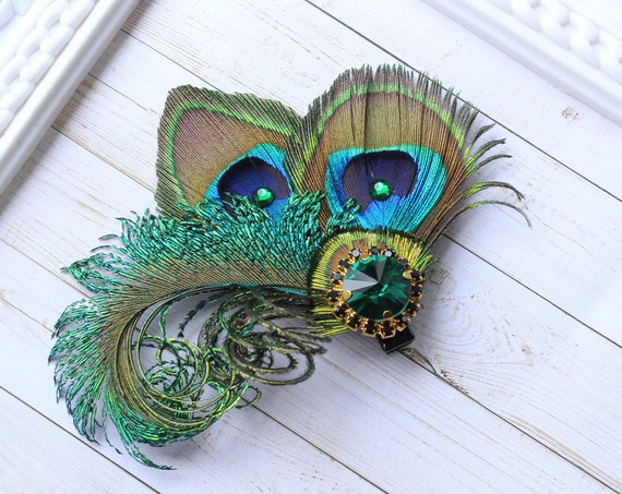 Peacock wedding fascinator feather hair clip bridal feather hair piece peacock feather hair accessory Prom Bachelorette Bridesmaid Hen party