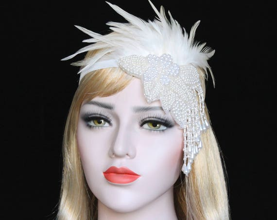 Gatsby 1920s Headpiece 20s White Feather Flapper Headband The Great Gatsby Dress Bachellorette Hen Party Pearl Beaded Wedding Headpiece