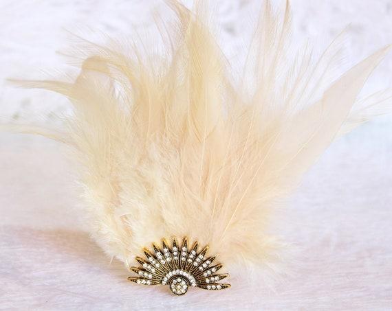 Gold Celestial Art Deco Feather Hair Clip 1920s Wedding Fascinator Gatsby Headpiece Beaded Cap Downton Abbey Hair piece Flapper Headband