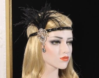 Great Gatsby Headpiece 1920s Headband Roaring 20s Flapper Black Gold Gatsby feather headband Flapper girl dress Bachelorette Hen Party