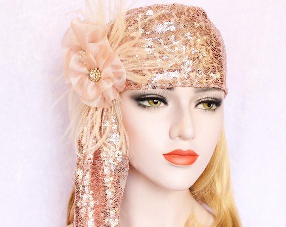 Rose Gold Sequin Juliet cap veil Blush Flower Wedding veil 1920s bridal veil Romantic veil for wedding dress blush headpiece