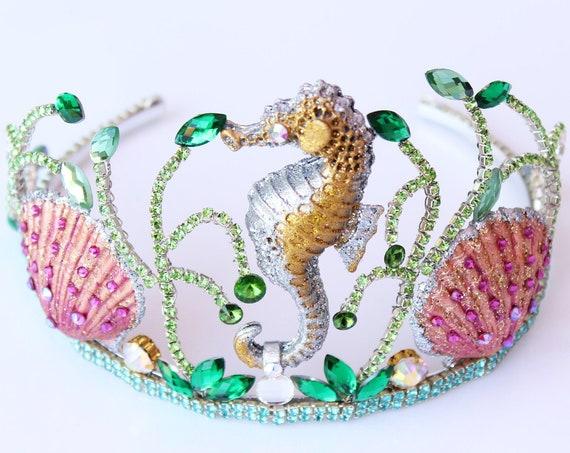 Mermaid Crown Seashell Crown Bridal headpiece Seahorse Shell Crown Beach Tiara Wedding Dress Bridal Crown Under the sea headpiece